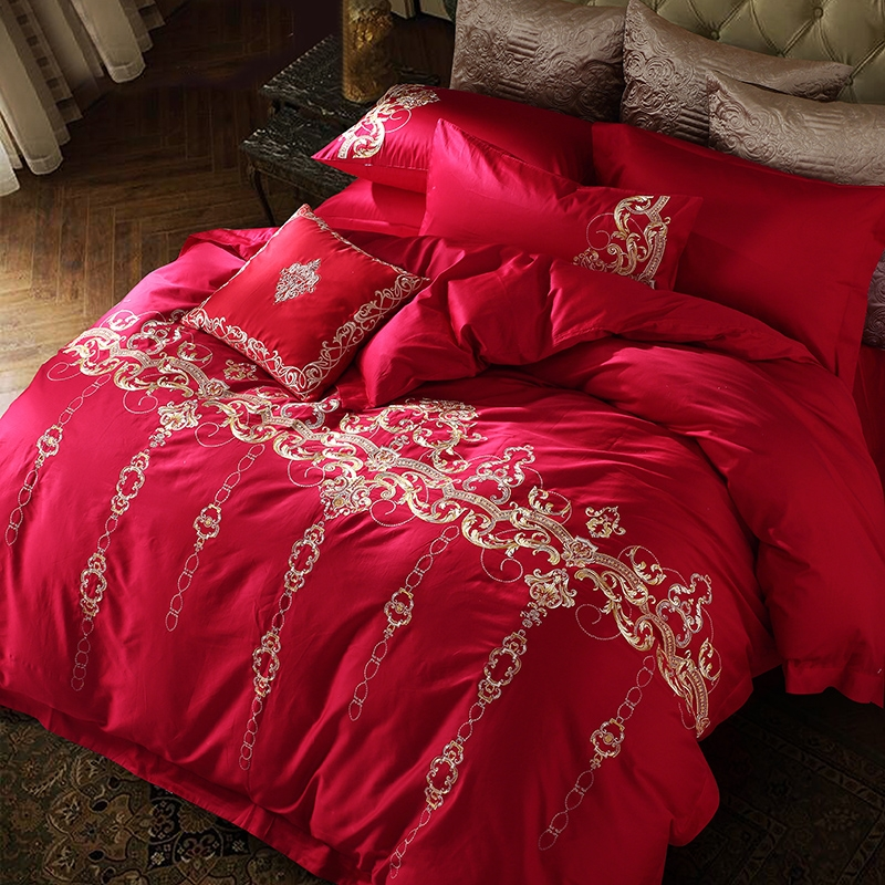 4/7Pcs King Queen size Gold Embroidery <font><b>Duvet</b></font> cover <font><b>set</b></font> Luxury Red <font><b>Egyptian</b></font> <font><b>cotton</b></font> Wedding <font><b>Bedding</b></font> <font><b>set</b></font> <font><b>Duvet</b></font> cover Bedsheet 36 image