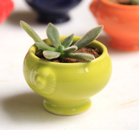 Cute Little Potted Flower Ceramic Flower Vase Personality Bonsai Decor Office Home Furnishing Small Ornaments Decorations