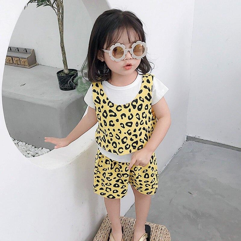 Enfants D'été Filles ensemble de vêtements en coton D'été Vêtements Imprimé Léopard hauts + pantalon à élastique Trois Ensembles