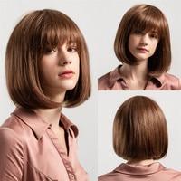 New women 12 Inch Fashion Shoulder Length Bobo Wigs With Bangs Medium Hair Real Human Hair Wigs Full Head Gift Dropshipping