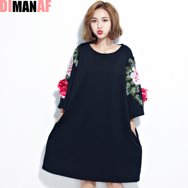 Plus Size Summer Women T Shirt Rose Embroidery Printing Cotton O Neck Female Fashion Casual T