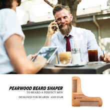 Pear Wood Double-side Beard Shaping Styling Template Beard Comb Men Shaving Tools Comb for Hair Beard Trim Template Combs New