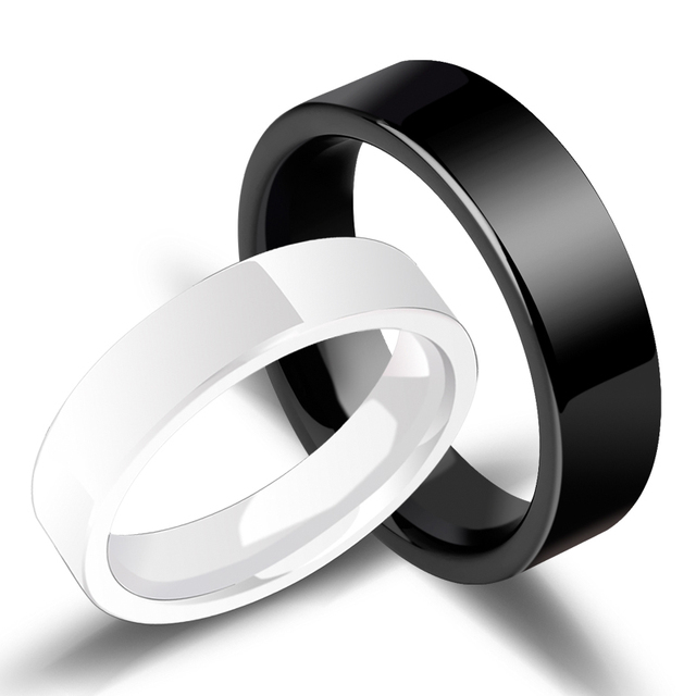 Hot Sell Couples' Wedding Ring Hi-Tech Ceramic Band Flat Top Black White Two Colors 4mm for Woman 6mm for Man