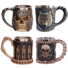Personalized Skull Mug Double Wall Stainless Steel Knight Tankard Dragon Wofl Beer Coffee Cup Caneca Viking