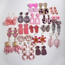 Женские серьги с кисточками flatfoosie модные розовые полимерные