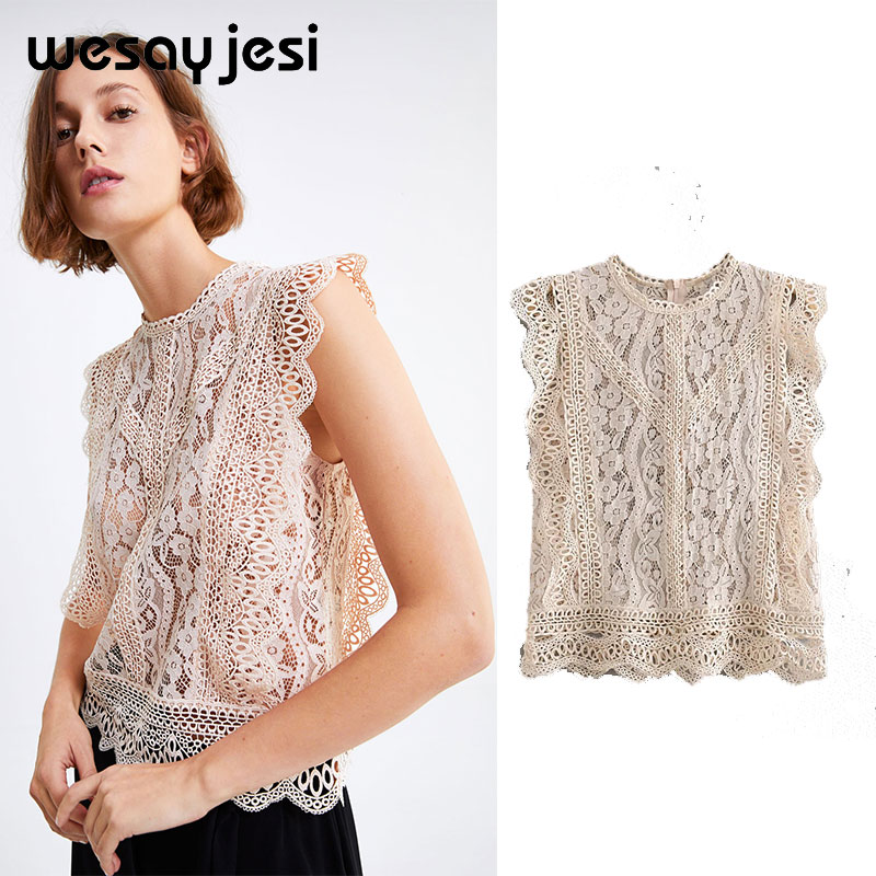 2019 England style Elegant lace hollow out women blouse shirt Sexy embroidery sleeveless blouse Summer transparent top female