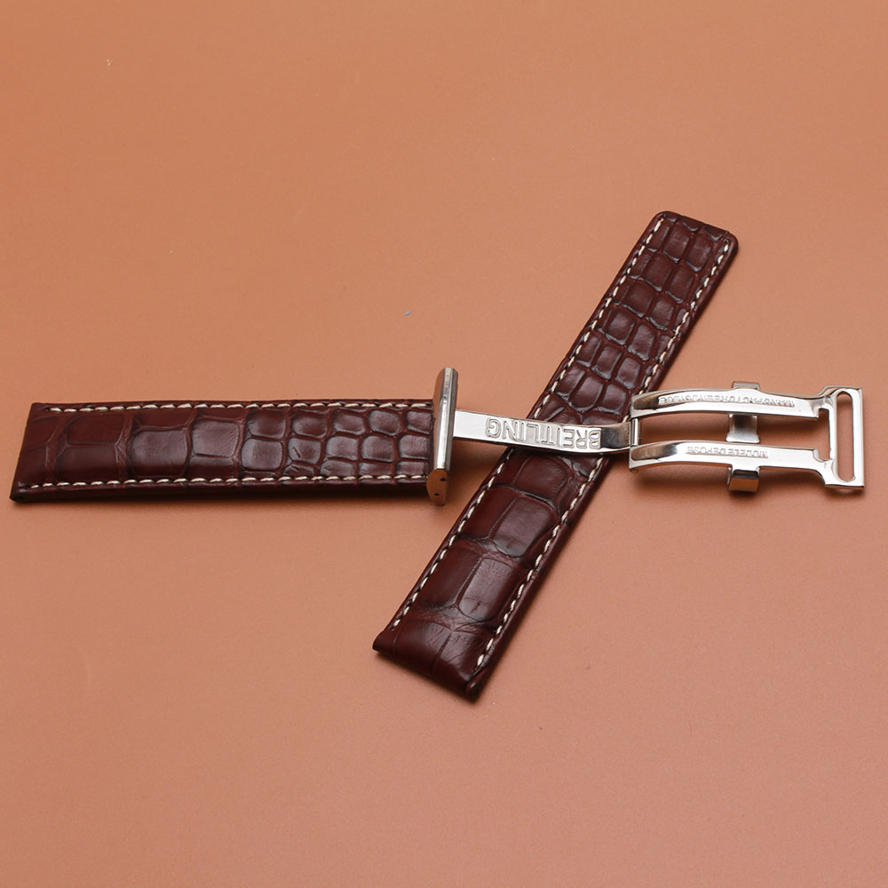 22mm Watchband Brown With White thread Fashion special wristwatch strap hot silver buckle polished stainless steel deployment