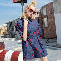 2017 Yaz Gömlek Tulum Jumsuit Streetwear Nakış Boyfriend Stil Kore Kadın Casual Tasarımcı Kulübü Parti Boho Tulum