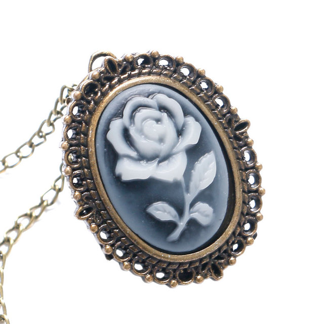 Fashion White Rose Bronze Quartz Pocket Watch Necklace Chain Girl Lady Women P61