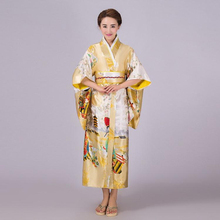 New Gold Japanese Lady Traditional Silk Kimono Gown Yukata With Obi Vintage Evening Dress Stage Dance Dress One Size NK009