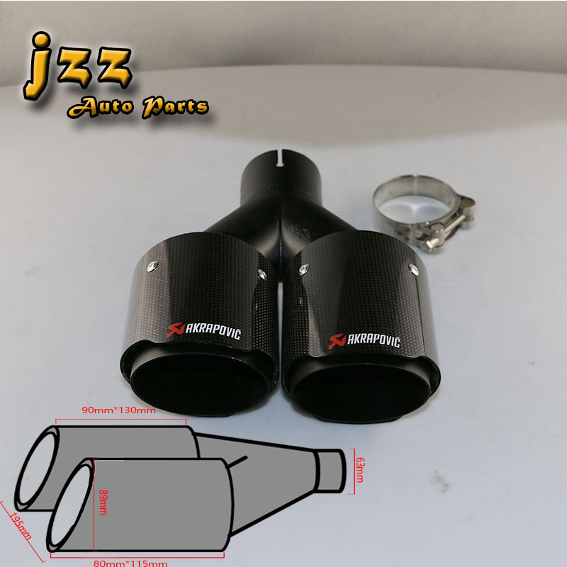 100/% Carbon Fiber Muffler Trim Cover Car 54mm//89mm Exhaust Tip Escape Muffler