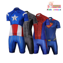 Kids Spider Man Cycling Jersey Wear Short Sleeves Set Boys Bike Clothing Ropa Ciclismo Girl Sports Suit
