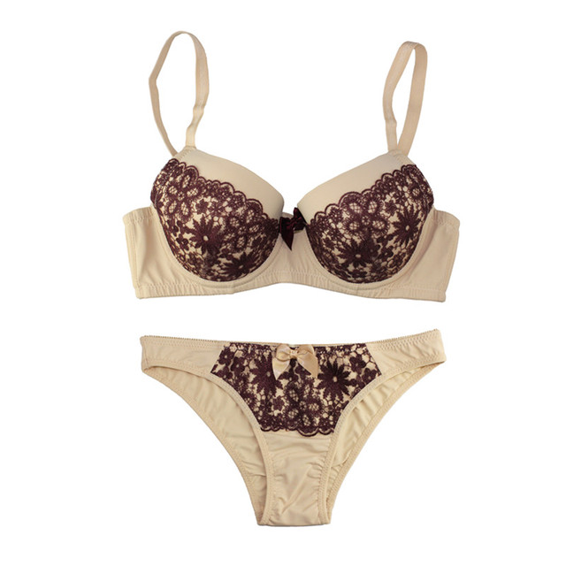 4c7b07c1cd MiaoErSiDai Full Cup Women Lingerie Set Push-Up Bra Lace Underwear Printed Underwired  Bra Set Panties And Thong B-DD Cup 32-44