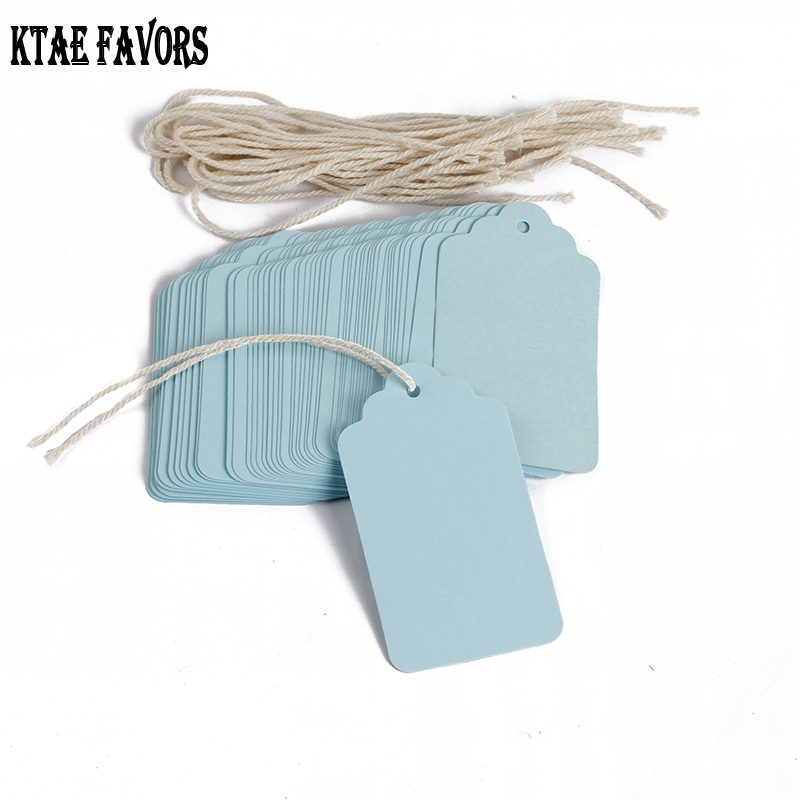 100pcs 70*40mm Blue Paper Tags With String Flower Head Tag Blank Gift Tag Label Decorations Christmas Labels Gift Tag Stickers
