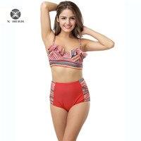 X HERR Rullfe Bra Exclusive Bikini High Waist Underwire Pads Contrast Color Swimwear Female Beach Bath