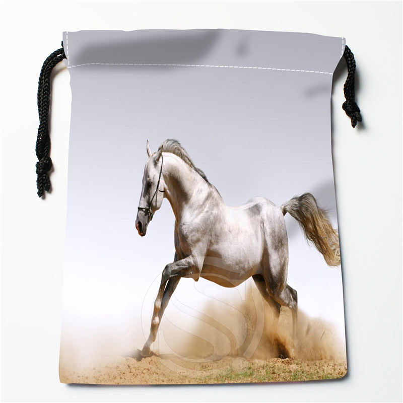 U-1 New Beautiful White Horses Custom Logo Printed  Receive Bag  Bag Compression Type Drawstring Bags Size 18X22cm U801!!q1