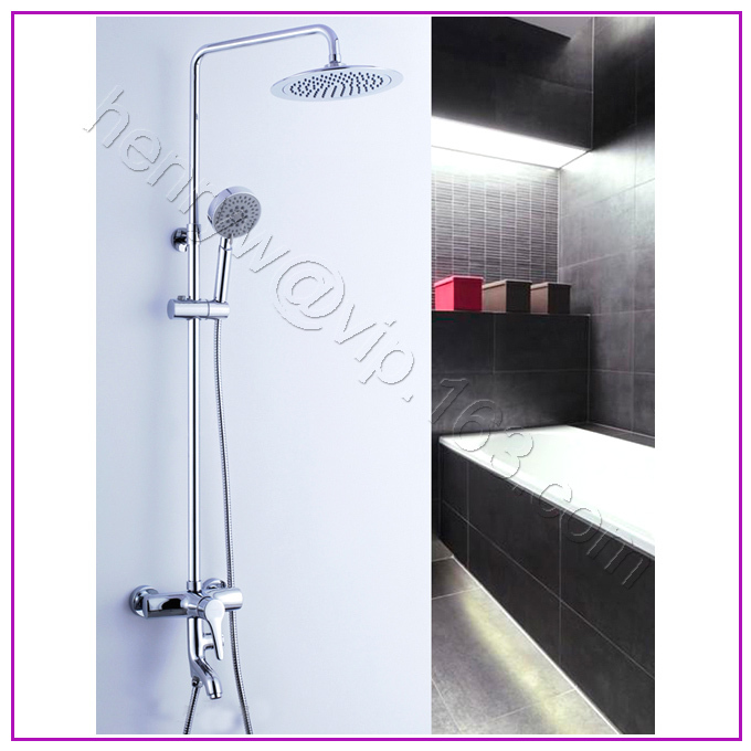L15163 - Luxury Brass Shower Set Chrome Shower Rod Shower Curtain Bar