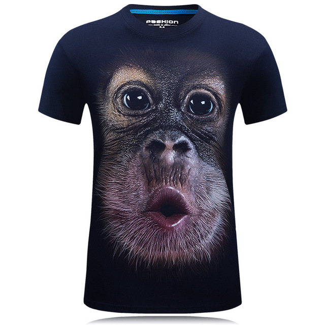 2017 summer Men's animal T-Shirt orangutan/gas monkey/Wolf 3D Printed T-Shirts Men Funny tees tops tee shirt large size 1