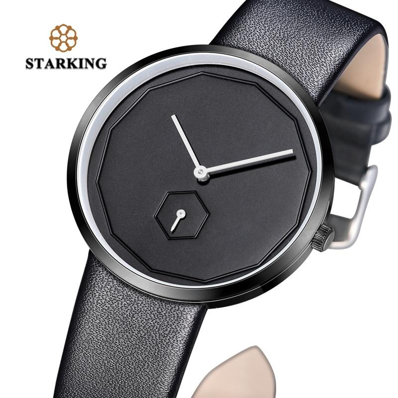 80af70fde6d5 Aliexpress.com  Comprar Golden Tulip negro las mujeres Relojes de cuarzo  Relojes para Hombre 2017 Unisex reloj 40mm sin rostro de cuero de diseño  Simple de ...
