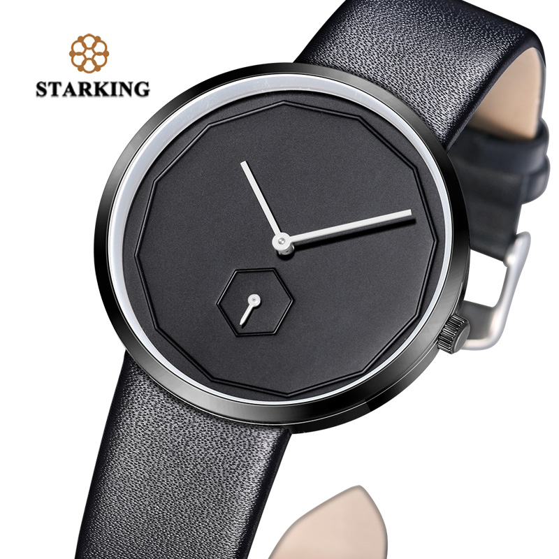 STARKING Black Women Watches Quartz Relojes Hombre 2017 Unisex Watch 40mm Faceless Design Leather Fashion Simple WristWatch Male