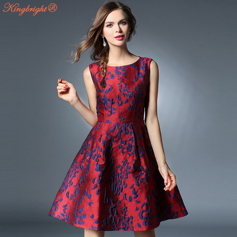 2019 Womens Summer Autumn Retro Vintage Red Dresses O-Neck Sleeveless Floral Jacquard Print Sexy Vest Casual Party Swing Dres