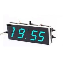 DIY 4-Digit Digital Clock Electronic LED Kit Large Display Case Light Control  Blue/Green/White 3 Color