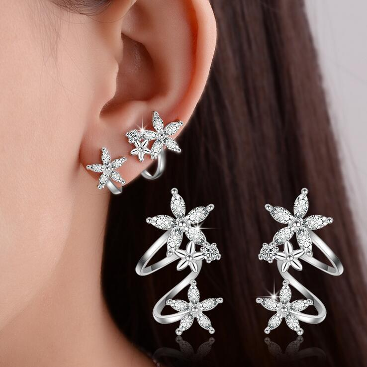 Hot sell fashion shiny crystal flower 925 sterling silver ladies`stud earrings jewelry birthday gift wholesale anti allergy girl