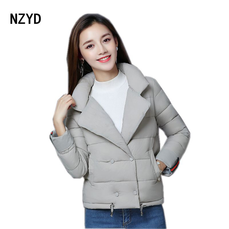 2017 Autumn Winter Women Jacket New Fashion Lapel collar Warm Long sleeve Parkas Casual Loose Big yards Short Coat LADIES196 2016 autumn winter fashion big lapel casual woman long style coat