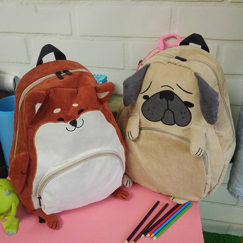 New Cute Cat and Dog Casual Hobo Bags Cartoon Animal Shoulder Bag Corduroy Backpack Students Bag Large Capacity Mochila