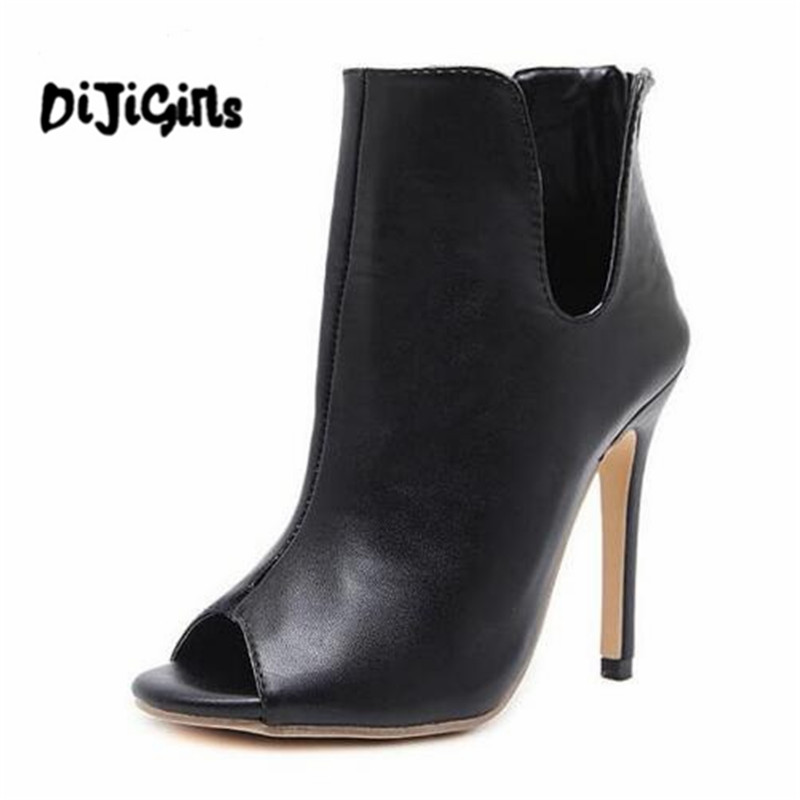New Design Women Chelsea Boots Black Open Toe High Heels Shoes Spring Autumn Woman Ankle Boots Size 35 - 40