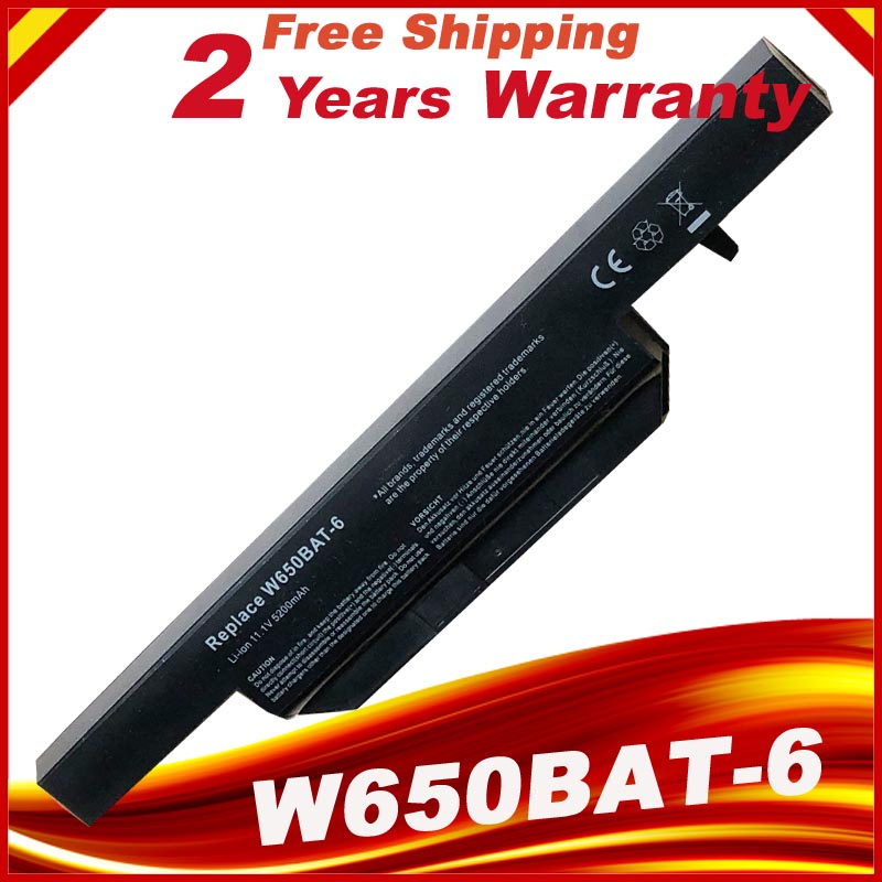 11.1V 4400mAh 48.84Wh Laptop Battery For Hasee K610C K650D K570N K710C K590C K750D Series Clevo W650S W650BAT-6 Batterie