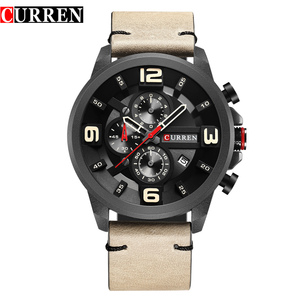 Image 1 - CURREN Fashion Design Male Clock Chronograph Men Sports Watches Waterproof Leather Strap Quartz Mens Watch Relogio Masculino
