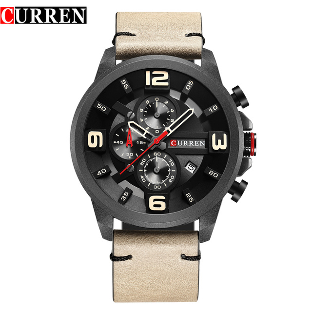 CURREN Fashion Design Male Clock Chronograph Men Sports Watches Waterproof Leather Strap Quartz Mens Watch Relogio Masculino