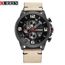 CURREN Fashion Design męski zegar chronograf mężczyźni zegarki sportowe wodoodporny skórzany pasek kwarcowy zegarek męski Relogio Masculino
