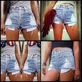 2016 de las Nuevas mujeres jeans Denim Elástico de Cintura Alta de Verano cortocircuitos Delgados Ocasionales mujer Vaqueros Pantalones Cortos Calientes Más El Tamaño XXXL