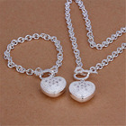 cute Christmas gift Pretty wedding silver plated fashion for women classic lovely necklace bracelet jewelry Set S25