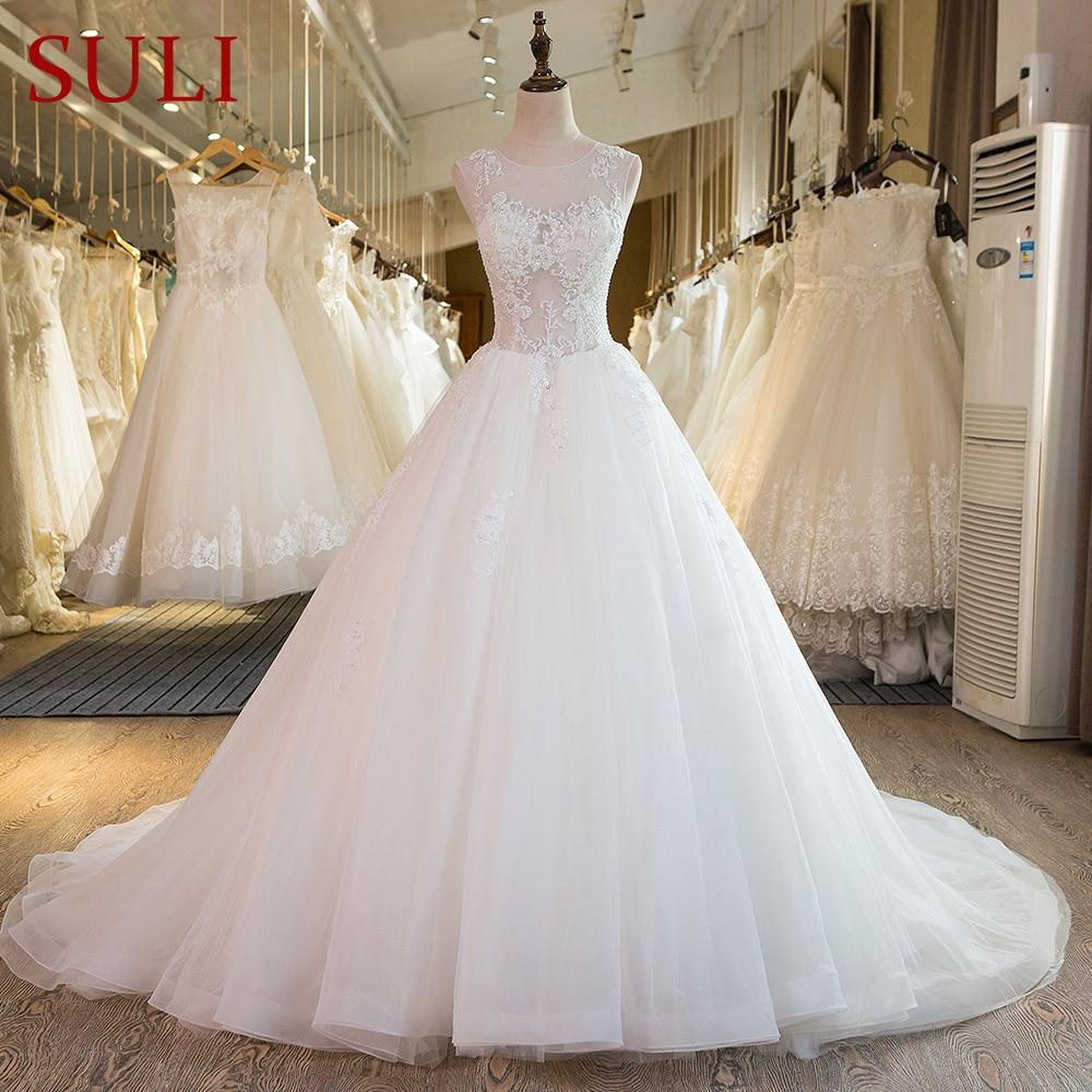 SL-38 Gaun Pengantin Baru Panjang Manik Lace Gaun Perkahwinan Gambar Penuh Saiz Plus 2017
