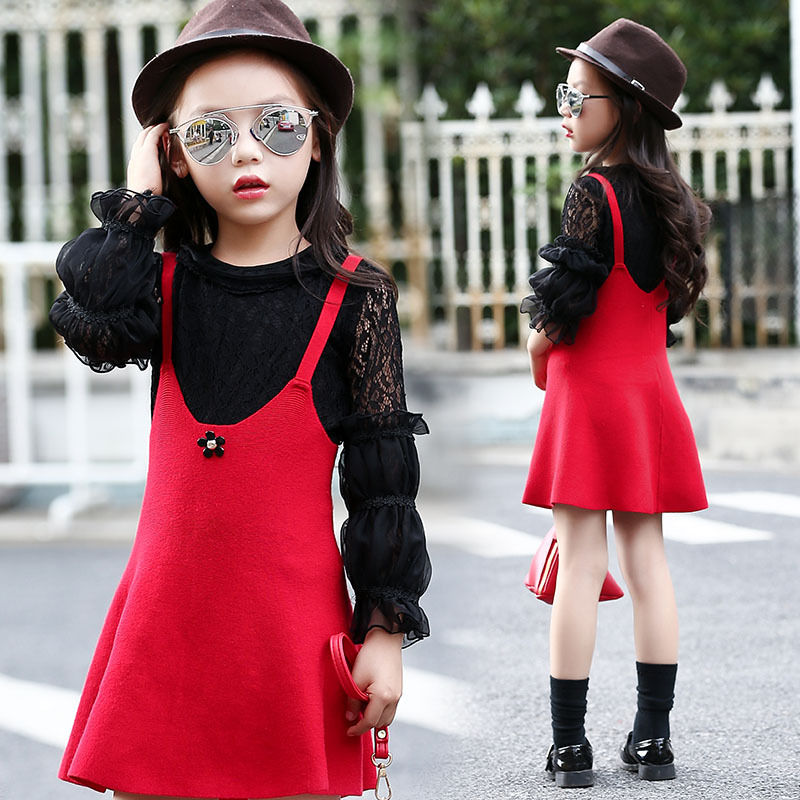 Girls Autumn Spring Students Wear Lace T-shirt Strap-dressTwo Piece Suit Kids Clothing Sets Black Red Cotton