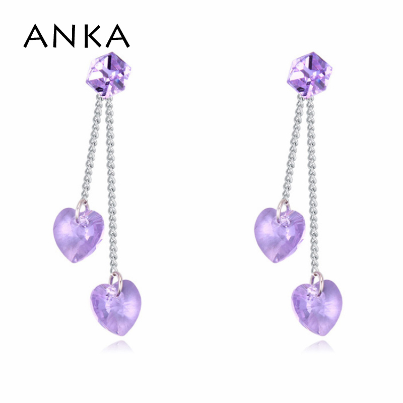 ANKA Women Crystal Cubic Drop Earrings with Crystal Heart Fashion Jewelry  Crystals from Austria  113724 8e97cced4313