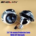 SINOLYN Car Styling Retrofit Mini 2.5 polegada HID Bixenon Lente Do Projetor Do Farol Lentes de Automóveis Farol GTI Shrouds H1 H4 H7