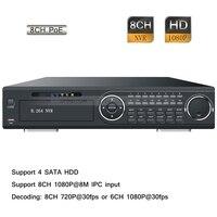 8CH 8 POE Full HD 1080P Realtime P2P CCTV Surveillance Network IP NVR 4 SATA