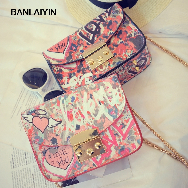 Pop Tide Nice Summer New Handbag Fashion Personality Graffiti Bag Cartoon Printed Small Square Package Lock Chain Shoulder Bag