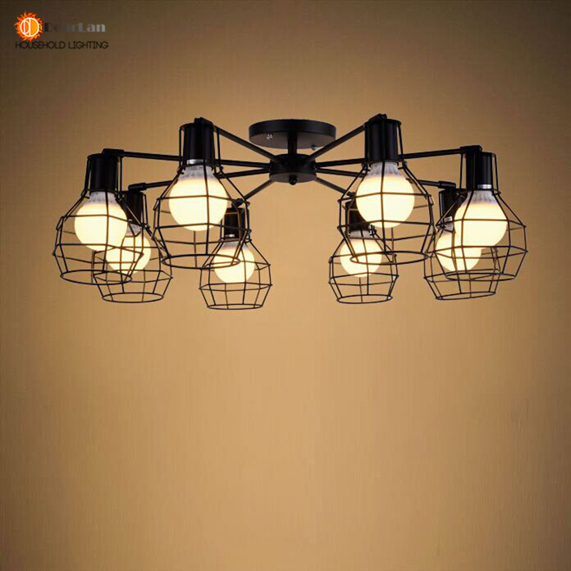 Vintage 5 Head/8 Head Iron Cage Ceiling Light Factory/Workshop/Industrial/Mall Lighting E27 110-240V Lamp Free Shipping
