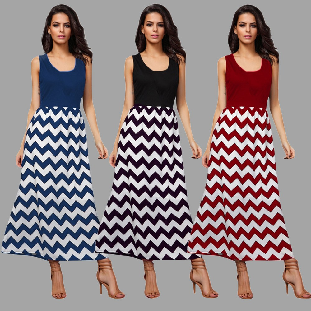 2018 Hot Sale dress female New Fashion Mommy Me Women Wave Striped Print Sundress Vest Slim Dress Family Clothes Vestidos Robe