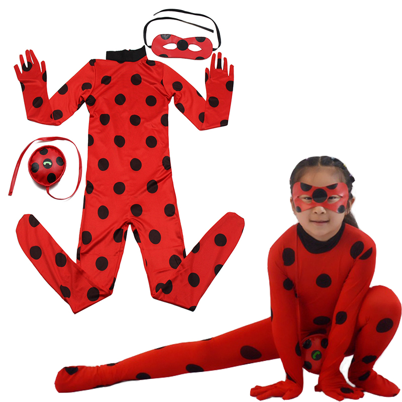 Halloween Girls disguise Ladybug Girls Clothing Sets Costumes Lady bug Child Cartoon Cosplay Girls Jumpsuits Anime Cosplay
