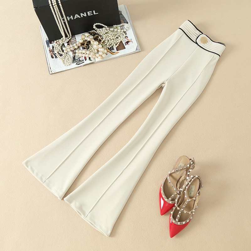 Hot Selling Women's Designer Style Zipper Fly Solid Color Beige & Black Flare Pants Slim Casual Trousers Quality Capris
