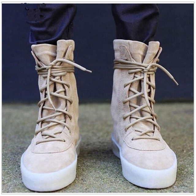 7813e90f6ca Chaussure Homme Superstar Kanye Style Men Shoes Ankle Brown Flat Boots Lace  Up Military Crepe Boots Couple Shoes Booties