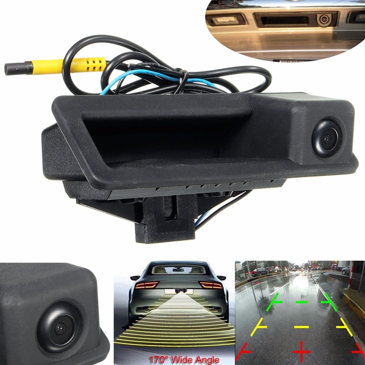 HD CCD Backup Trunk Handle Switch Rear View Reversing Camera For BMW 3/5/X5 SeriesE90 E60 E70 Model Cars Waterproof 170 Degree