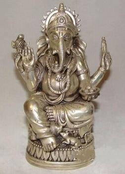 Copper Brass CHINESE crafts Asian Elaborate Chinese Tibetan Silver Elephant Buddha Statue