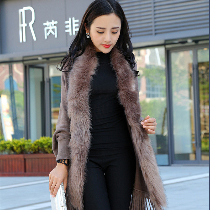 Faux Fur Collar Shawl Cardigan Tassel Winter Warm Coat 4